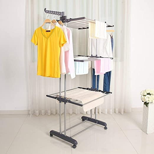 Blue oHholly Indoor Airer 3 Tier Clothes Laundry Drying Rack,Adjustable Clothes Dry Rail Hanger with Wheels-Grey//Blue