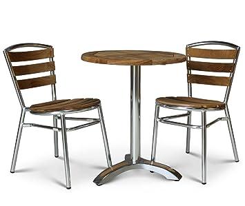 aluminium and teak bistro set round outdoor bistro table and 2
