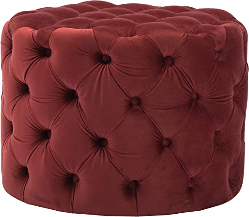 Guyou Upholstered Tufted Round Velvet Ottoman with Button, Mordern Footrest Stool Ottoman Comfy for Living Room Hosting Room Bedroom Burgundy Wine Red