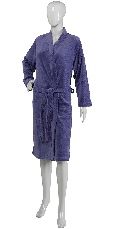 Slenderella Ladies Dressing Gown Super Soft Fleece Zig Zag Pattern Wrap Bath Robe (Various Colours & Sizes)