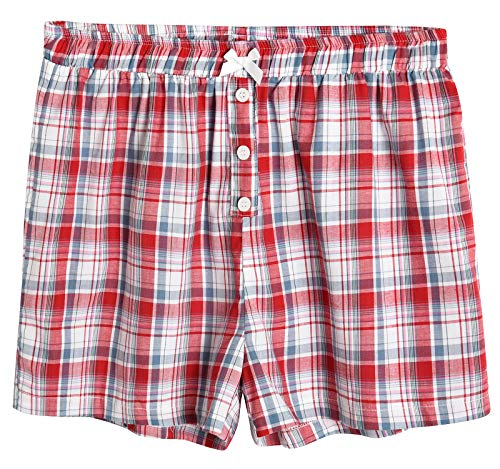- Latuza Women's Sleepwear Cotton Plaid Pajama Boxer Shorts L Red
