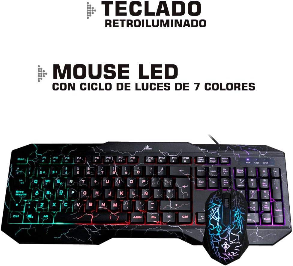 104 Keys USB 2.0 Yeyian Gaming led Keyboard Mouse Phoenix 1001 Combo Mouse dpi: 800//1000 yc1001