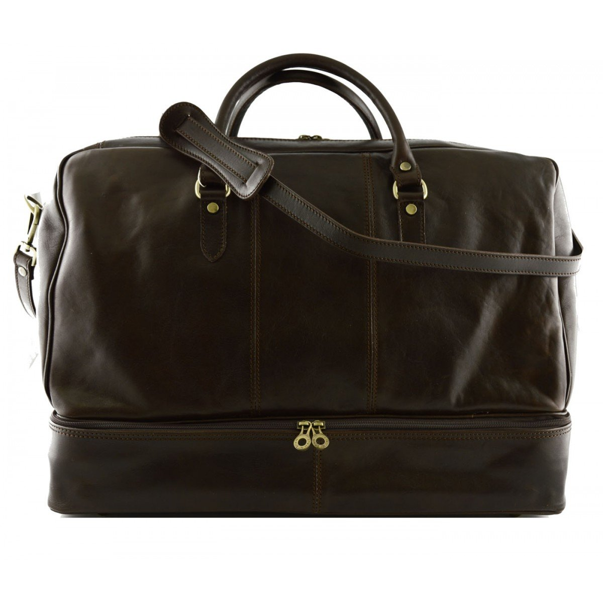 Made In Italy Genuine Leather Travel Bag Color Dark Brown - Travel Bag B01N7ZBV6D