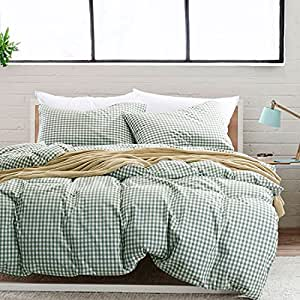 Green Plaid Duvet Cover Set Twin Size Kids Girls Duvet Quilt Cover Set 100% Washed Cotton Hotel Quality Modern Luxurious Bedding Set 4 Piece King