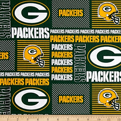 Fabric Traditions NFL Cotton Broadcloth Greenbay Packers Patchwork Green/Yellow Fabric by The Yard, ()