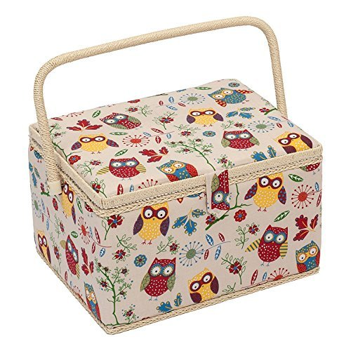 Hobby Gift Owl Design Sewing Box on Natural Large (23.5 x 31 x 20cm) by Hobby Gift