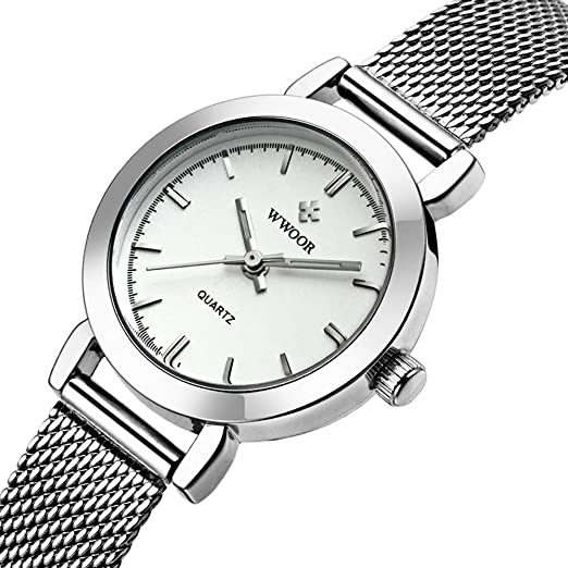 Marca de lujo relojes impermeable cinturón de malla reloj muy pequeño blanco reloj 29 mm Diámetro