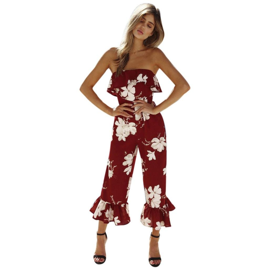 e3be09ec5727 Jamicy Women Ladies Summer Floral Off Shoulder Party Casual Trousers  Playsuit Jumpsuit  Amazon.co.uk  Clothing