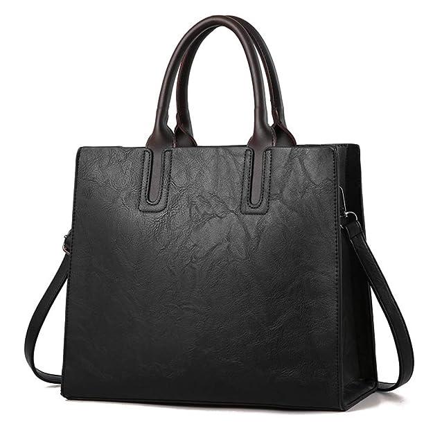 6ff96eb96f Sacs de marques de luxe Sacs à main en cuir pour femme Grande capacité  Retro Vintage Hand Top-Handle Sacs Fourre-tout solide: Amazon.fr:  Chaussures et Sacs