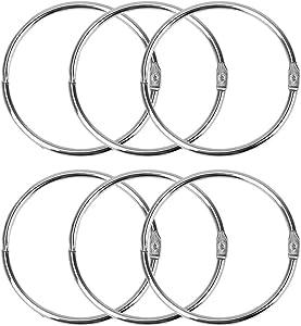 3 Inch Loose Leaf Binder Rings COZYROOM Large Book Rings Metal Book Rings Circular Shower Curtain Ring Loops for Drape, Bathroom, Home Decor 6 Pack