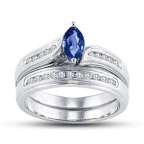 Lilu Jewels Niños Hombre Unisex Mujer Plata fina 925 plata de ley marquesa Blue varias gemas