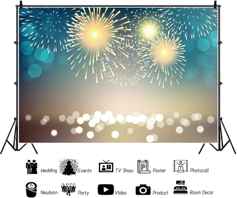 YEELE 10x8ft New Years Eve Fireworks Photography Backdrop Traditional Lion Dancing Celebration Background Kids Adults Portrait Holiday Decoration Photo Booth Photoshoot Props Digital Wallpaper