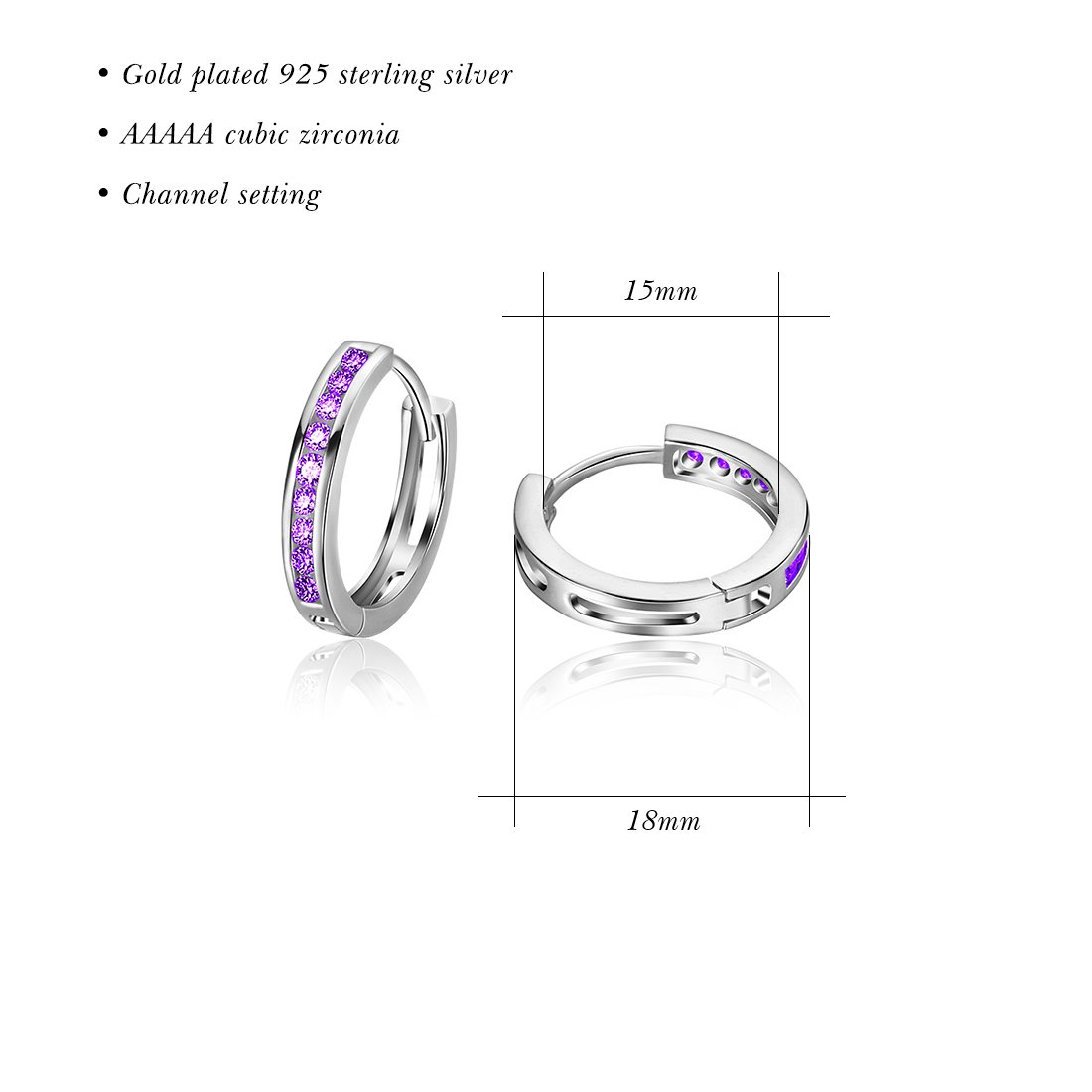 Carleen 925 Sterling Silver Channel Setting Round Cut 9-stone Cubic Zirconia CZ Hinged Hoop Earrings for Women Girls Diameter 1.8cm (Purple) by Carleen (Image #4)
