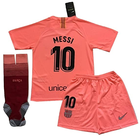 4bde20731 Messi  10 FC Barcelona 2018 2019 3rd Champions League Jersey Shorts and  Socks for