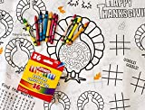Kids' Coloring and Activity Thanksgiving Tablecloth Bundle - 2 Items: 1 Paper Tablecover, 1 Box of Crayons