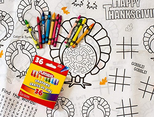 Kids' Coloring and Activity Thanksgiving Tablecloth Bundle - 2 Items: 1 Paper Tablecover, 1 Box of Crayons]()