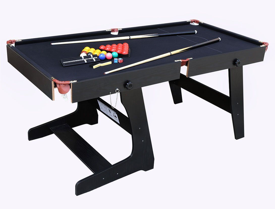 Amazon Com Hlc 5 8 Ft Folding Snooker Billiards Table With Snooker Ball Sets Black Sports Outdoors