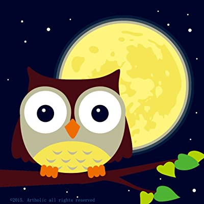 """Colour Talk DIY Oil Painting, Paint by Number Kits for Kids - Owl and Yellow Moon 8""""x8"""": Toys & Games"""