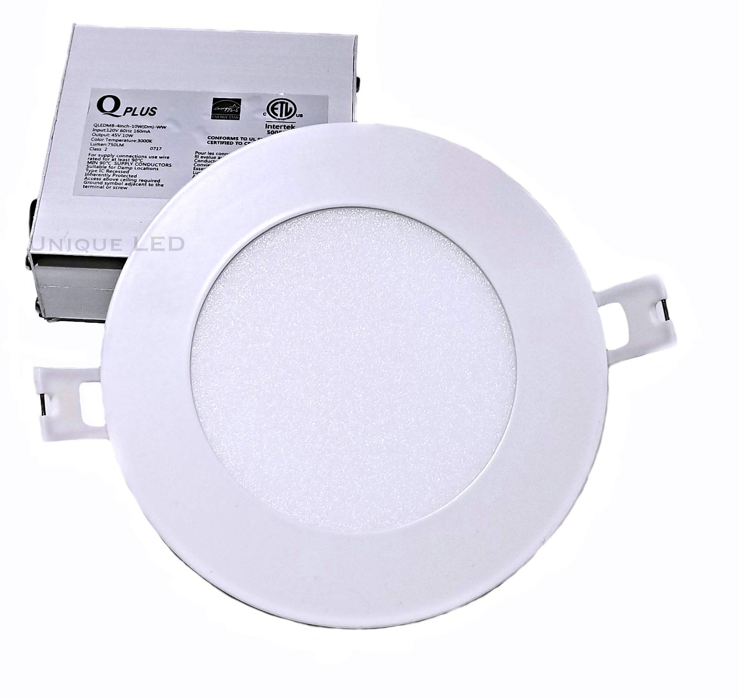 Qplus, Pack of 12: 4 LED Pot Light, 10 Watt 750 Lumens, 5000K, Dimmable, Safe for Wet Locations, 50 000 Hours, Energy Star Certified, cETLus Listed, Type IC Rated, CSA USD Approved. 5 Year Manufacturer Warranty. (12, 5000K Daylight White)
