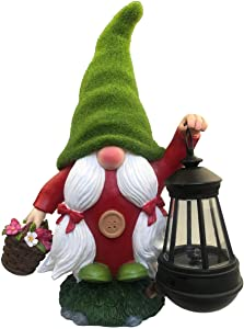 By Mark & Margot Swedish Flocked Garden Gnome Lady Flower Basket- Best Solar Powered Home Decore Outdoor Indoor Figurine Statues - (Red)