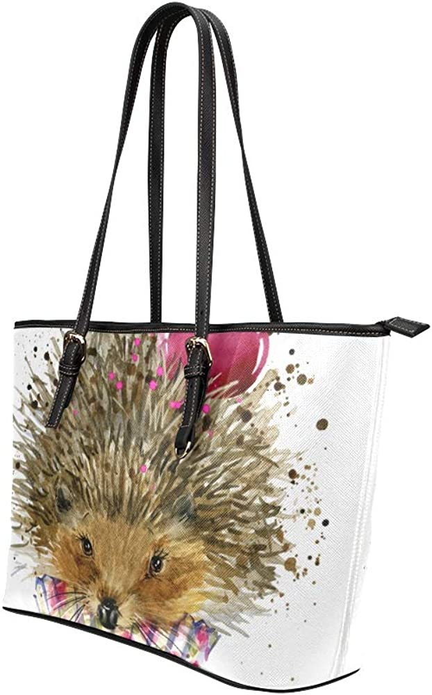 Lightweight Tote Hedgehogs And Cherries Leather Hand Totes Bag Causal Handbags Zipped Shoulder Organizer For Lady Girls Womens Shopping Bag For Women