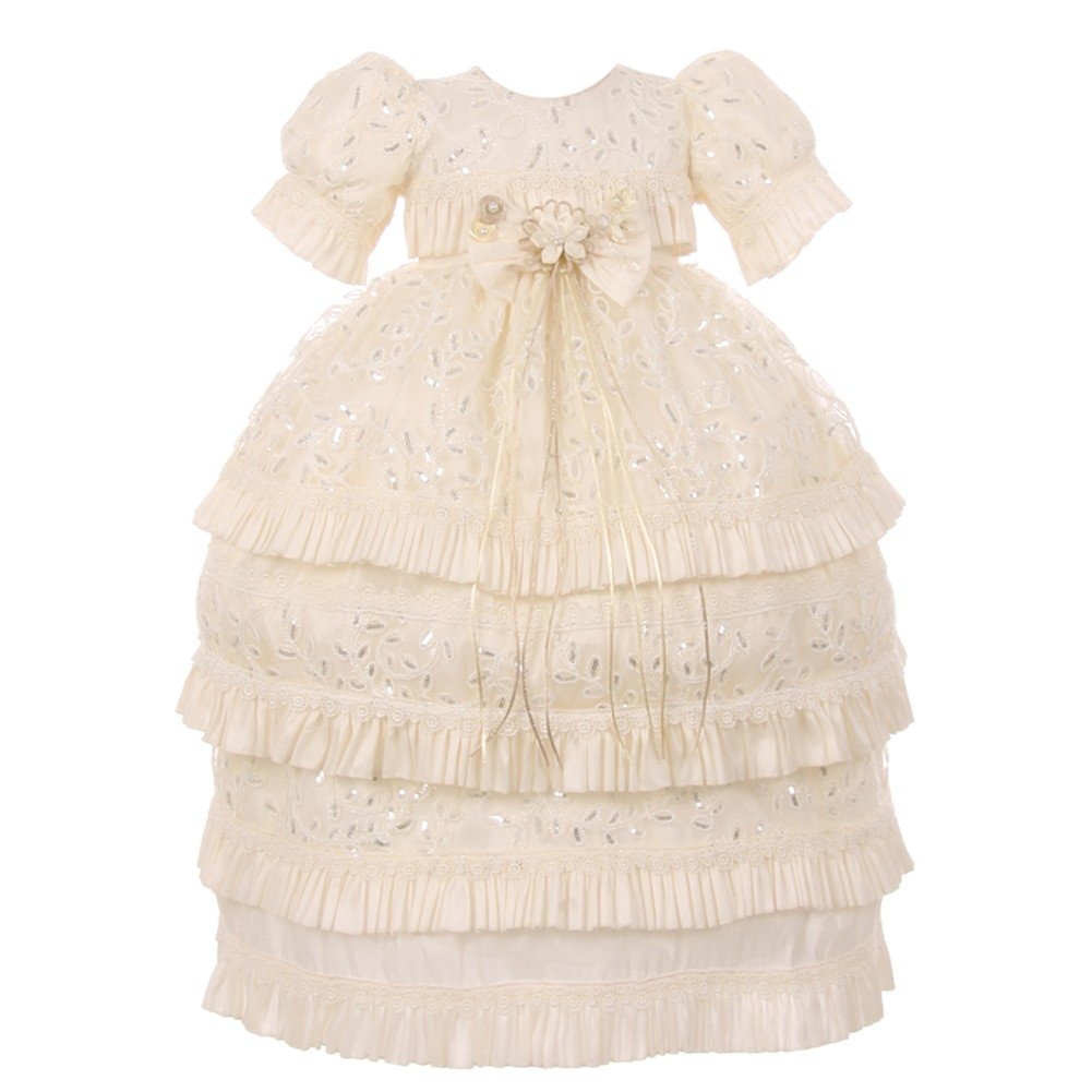 RainKids Baby Girls Ivory Shantung Floral 3 Pc Headband Baptism Gown 0-18Mo