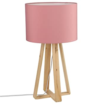 Lámpara de pie en madera - H. 47,5 cm). - Color Rosa: Amazon ...
