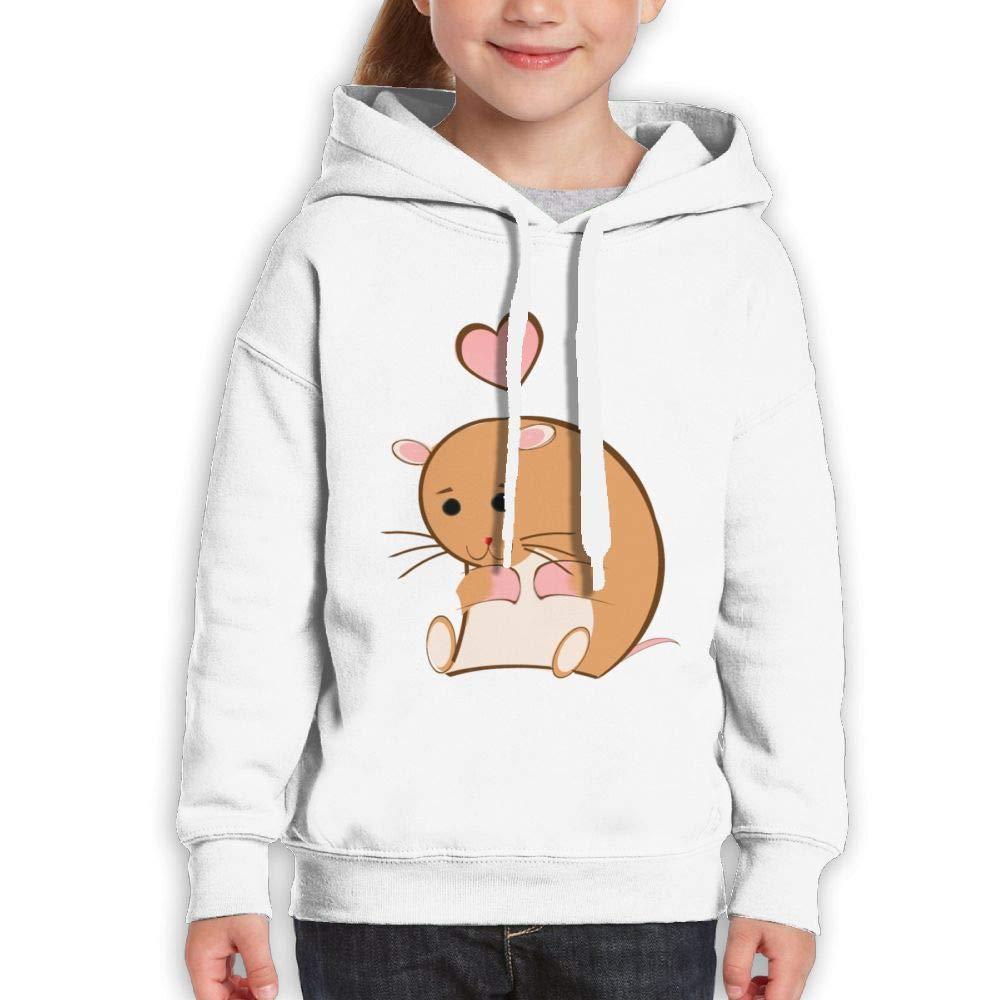 Qiop Nee Shy Hamster Heart Childrens Hoody Print Long Sleeve Sweatshirts Girls'