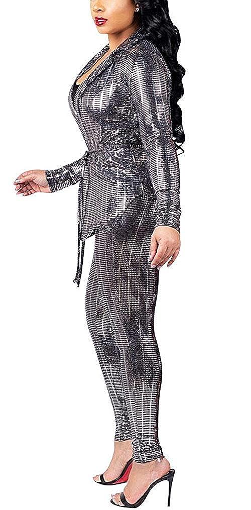 Pants Set Bodycon Jumpsuit Women Sequins 2 Piece Outfits V Neck Stripe Blazer