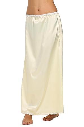 06be70af8cba9d Pagacat Femme Mode Elégante Lingerie Jupon sous Jupe Satin Dentelle Slip Mi  Robe Glisser avec Taille Élastiquée