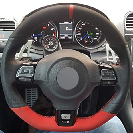 ZYTB Para Negro Rojo Cubierta del Volante para Volkswagen Golf 6 ...