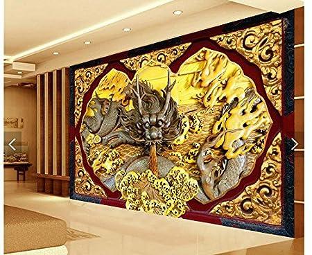 Lwcx Fond Décran 3d Sur Mesure Décoration Accueil Dragon En