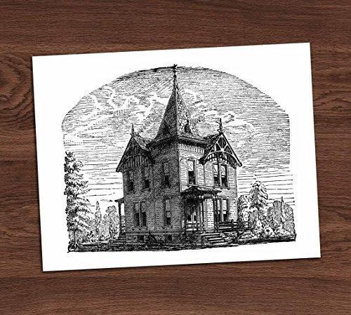 Haunted Victorian Gothic House Vintage Illustration Art Print