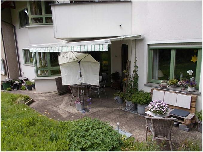Hollys Pequeño balcón – FÄCHER Naturaleza para la marca de la marca con 2 Test Volant + Parasol + Soporte para varillas de hasta 30 mm de diámetro – Fabricado en Baden Württemberg: Amazon.es: Jardín