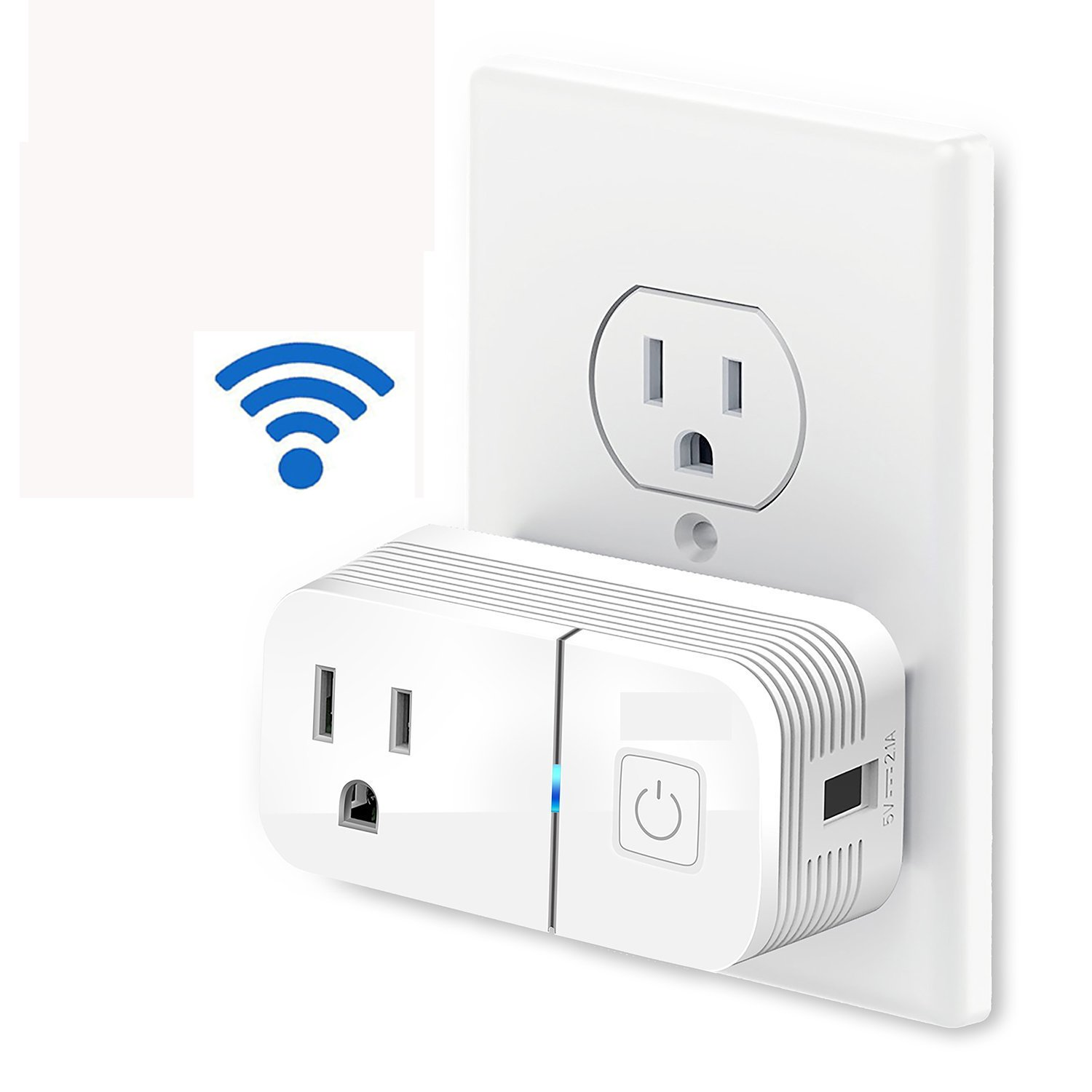 Wireless WiFi Smart Plug Outlet With Built In USB Port Compact, Lightweight & Easy To Use Fits 2 Mini Plugs Control Your Home, Lights & Appliances, Works With Alexa and Google Home.