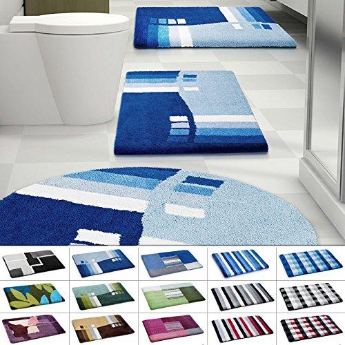 casa pura Design Bathroom Rug | Non-Slip Bath Mat for Floors | Blue | Multiple Sizes Available | 28