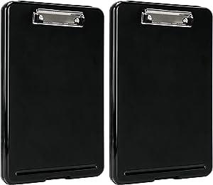 AmazonBasics Plastic Storage Clipboard,Black, 2-Pack