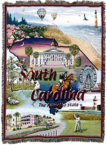 Pure Country Weavers | South Carolina Woven Tapestry Throw Blanket Cotton 72x54 Cotton USA
