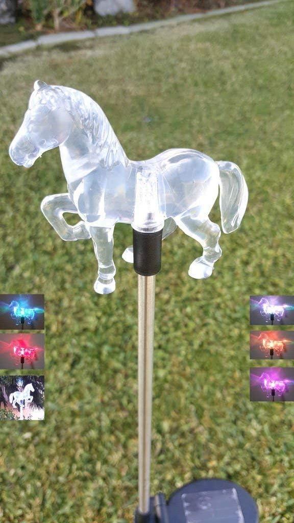RELIGHTABLE Solar Powered Garden Stake LED Light, Set of 2 (Horse)
