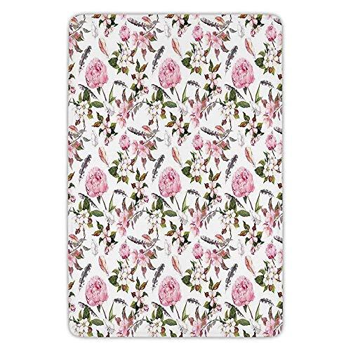 - K0k2t0 Bathroom Bath Rug Kitchen Floor Mat Carpet,House Decor,Apple and Cherry Flowers Blossoms Feathers Shabby Classical Botanic Retro Art,Flannel Microfiber Non-Slip Soft Absorbent