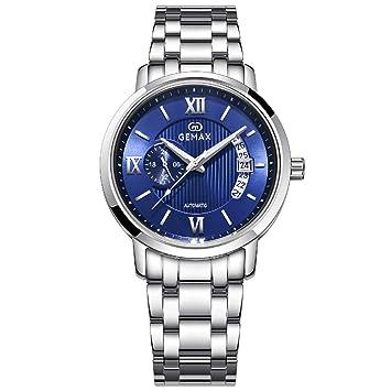 Gskj Reloj de Hombre Relojes mecanicos Moda Impermeable Relojes automáticos Tira de Acero 316L Espejo de Zafiro Fecha Hombres Reloj de Negocios,Blue: ...