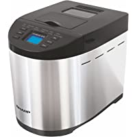 Sharp 600W Table-Top Bread Maker with Fully Automatic Function, 12 Pre-Programmed Menus and Adjustable Browning, 1.5LB(Grey, Black)