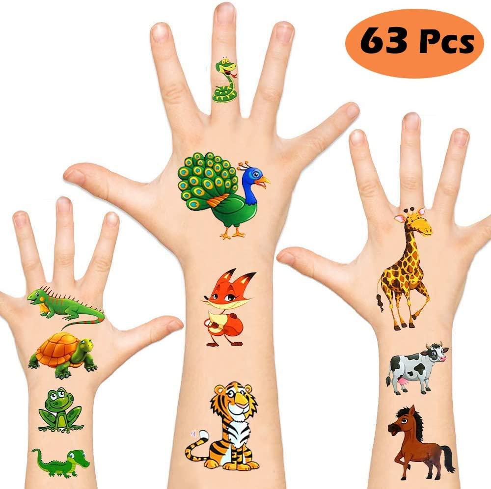 Temporary Tattoos for Kids, Non-Toxic Cartoon Theme Fake Tattoos Stickers for Children Boys Girls Halloween Birthday Party Favors Supplies (Animal)