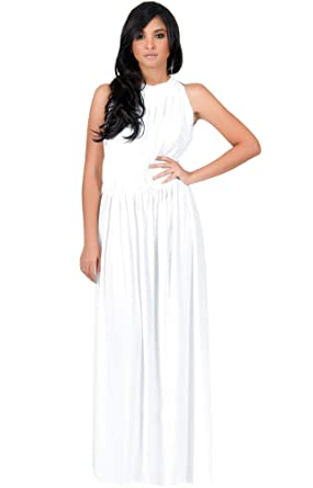 154c2db523a5 KOH KOH Petite Womens Long Sexy Sleeveless Bridesmaid Halter Neck Wedding  Party Guest Summer Flowy Casual