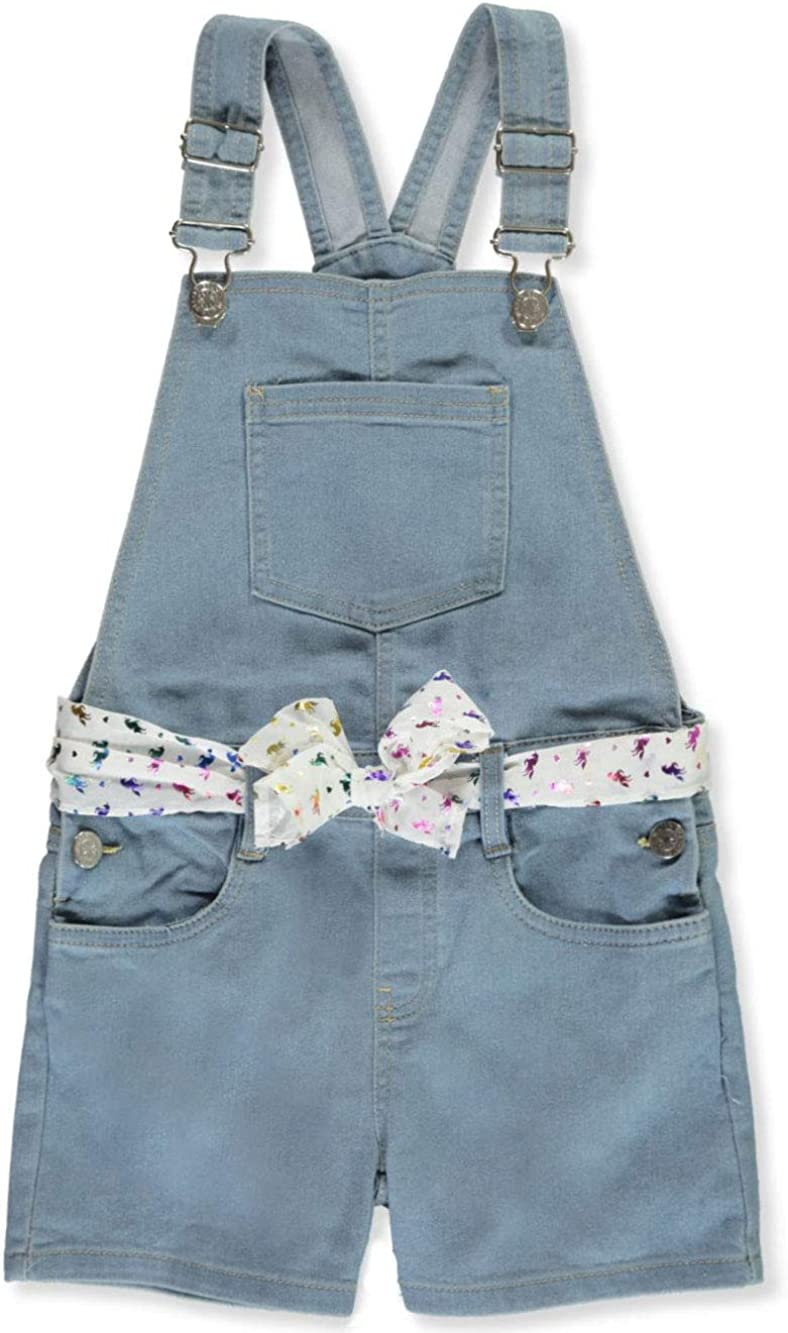 Delias Girl Girls Super Stretch Denim Shortalls with Glitter Unicorns Belt