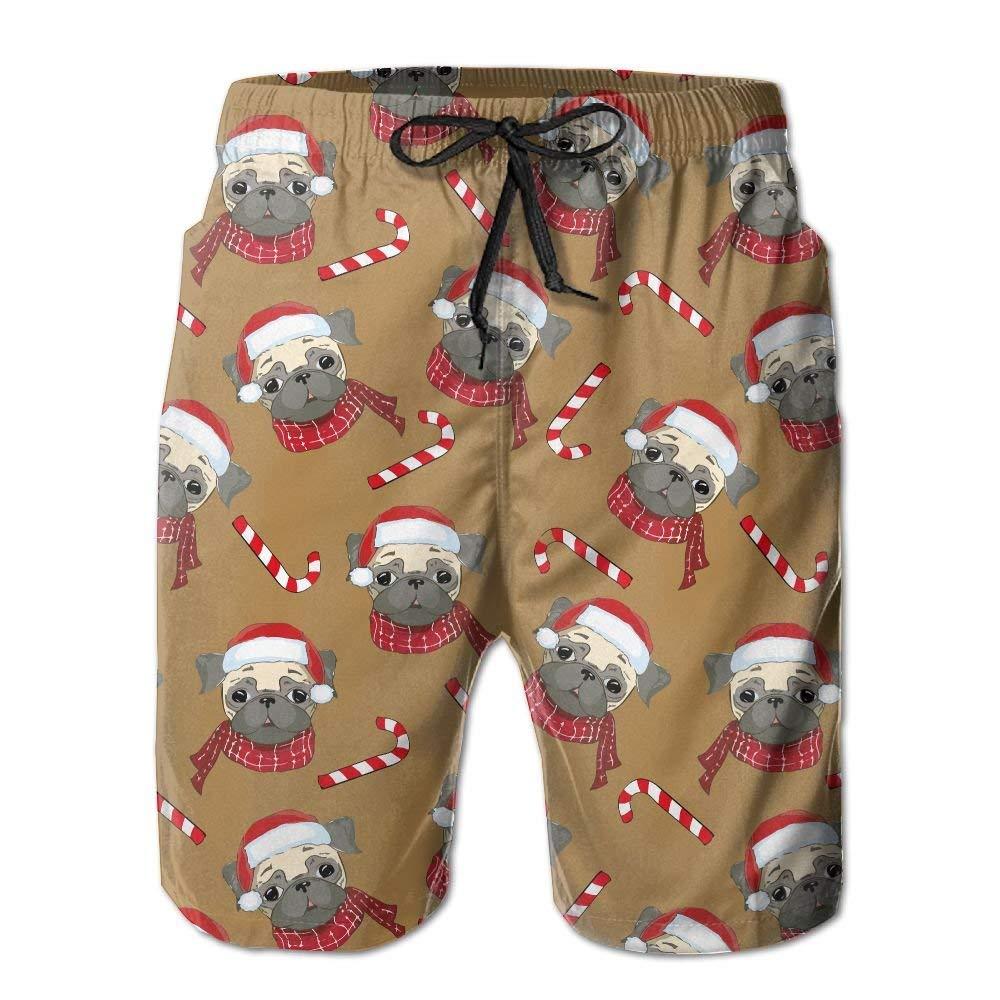 Shanghu Mens Cute Pug Dog Beach Shorts Casual Boardshort