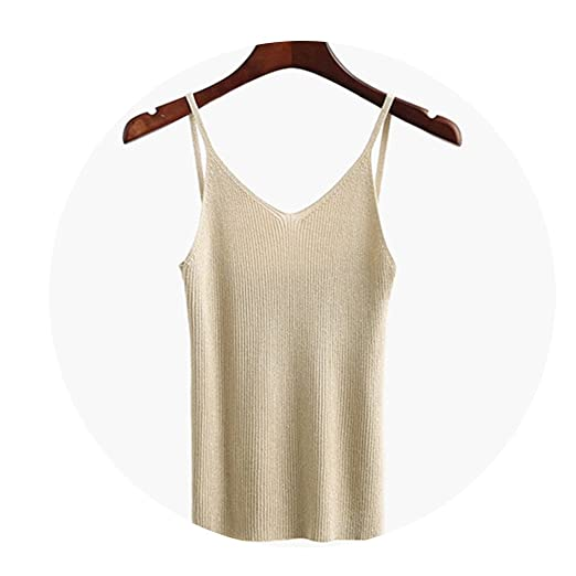 57c718845f7d0 Amazon.com  aoliaoyudongyongpin Knitted Tank Tops Gold Thread Top Vest  Summer Camisole Women Off White Tank top  Clothing