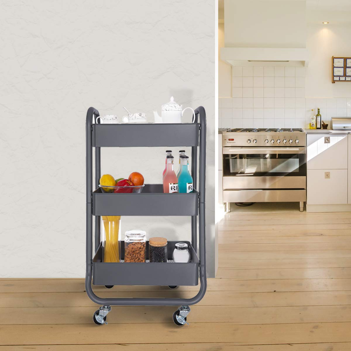 DESIGNA Metal Rolling Storage Cart 3 Tiers Utility Mobile Organization Cart with Handles Suitable for Office Home Kitchen or Outdoor, Gray by DESIGNA (Image #3)