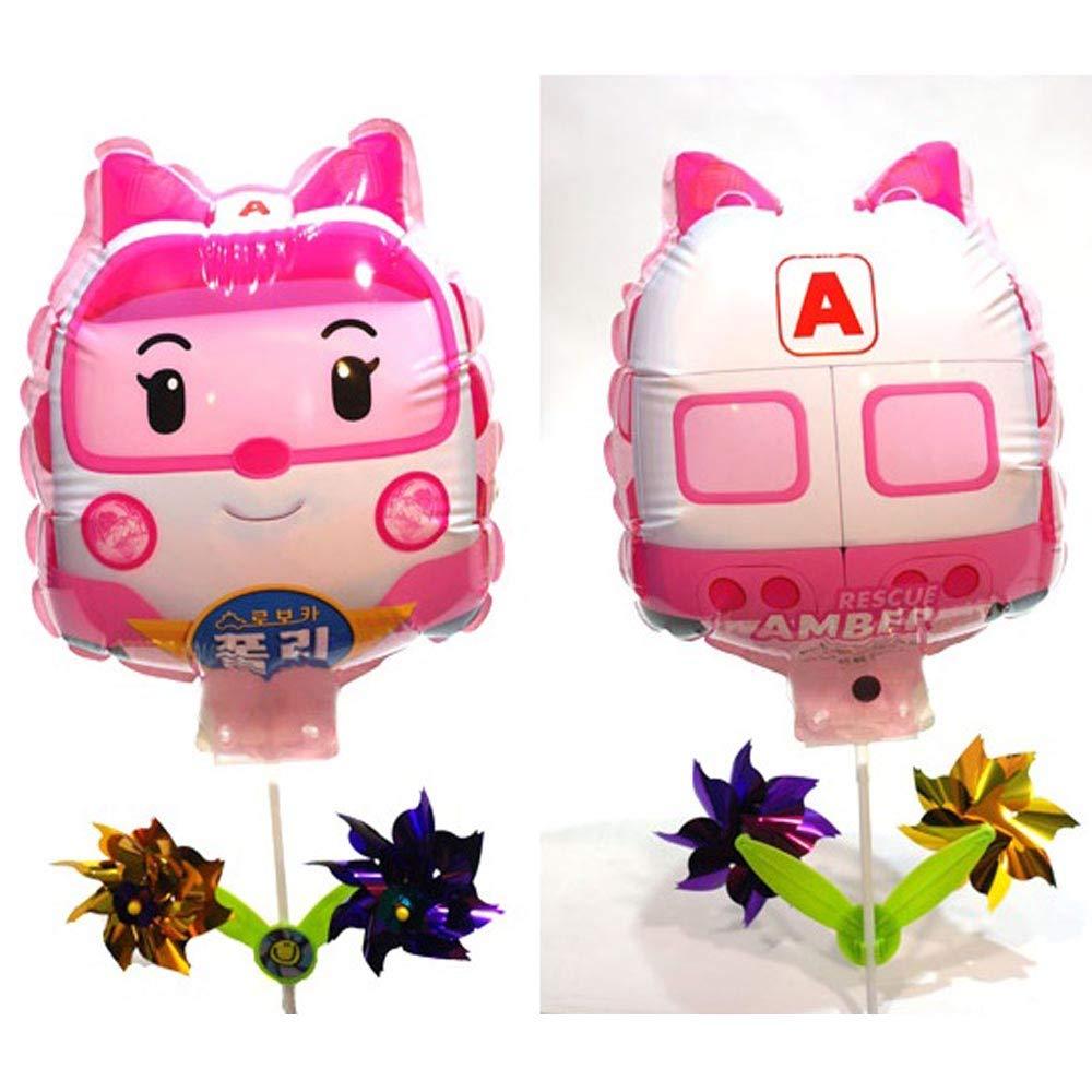 Robocar Poli アンバーバルーン 風車付き 誕生日 ピクニック パーティー用品   B07M59WTX7