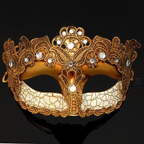 4everStore Macrame Lace & Rhinestones Masquerade Mask (Gold)]()